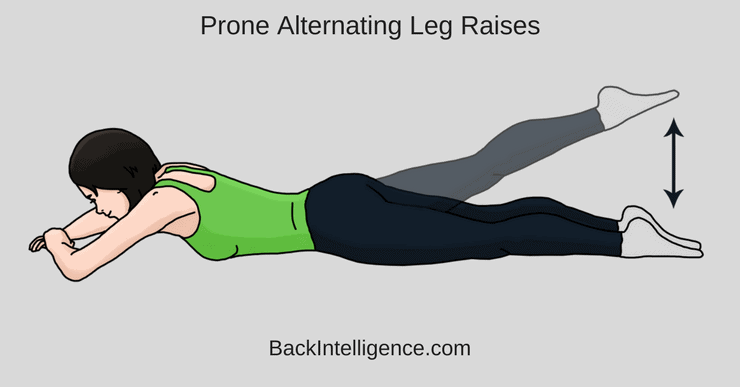 Prone Alternating Leg Raises
